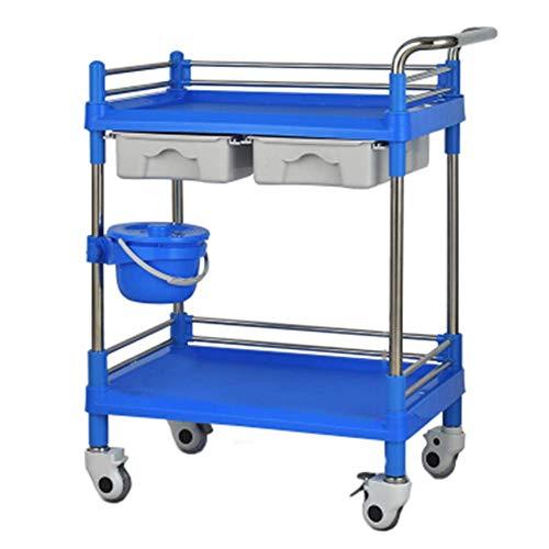 Portable Cart - GR/Carro de Servicio médico Beauty Trolley con Dos cajones, Bandeja de ABS y Marco de Acero Inoxidable (Color : Blue, Size : 64.5×44.5×90cm)
