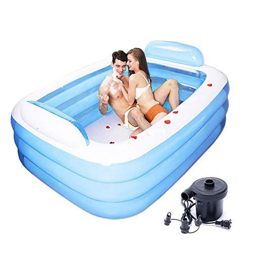 XIUDADA Familienpool mit elektrischer Luftpumpe, aufblasbarer Pool für Kinder- und Erwachsenenunterhaltung, reguläres Boden-Planschbecken,150x105x55cm