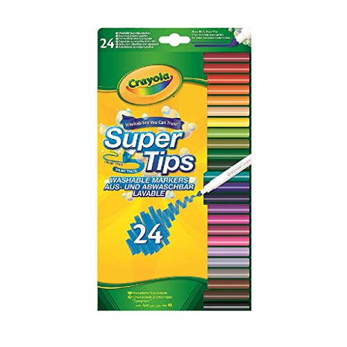 CRAYOLA 58-5057-E-000 SuperTips Washable Felt Tip Colouring Pens, Pack of 24, Multi, 24 pk