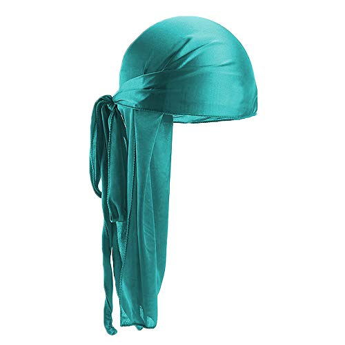 Men Women Bandana Silk Durag Turban, Wigs Grip Band Headband Soft Satin Laying Scarf Long Tail and Wave Cap for Makeup, Facial, Sport(green)