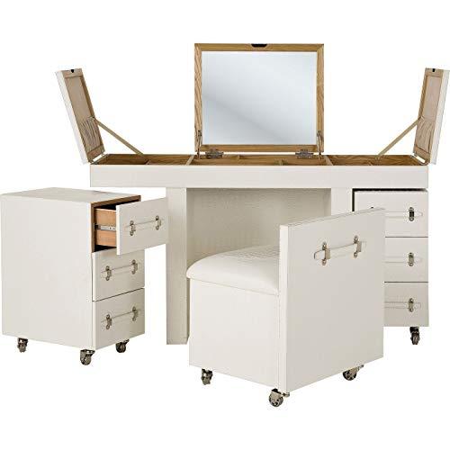 Kare Design Schminkkombination Diva Croco White , Schreibtisch weiß, Schminktisch weiß, Krokooptik Tisch, (H/B/T) 79,5x138x50,5cm