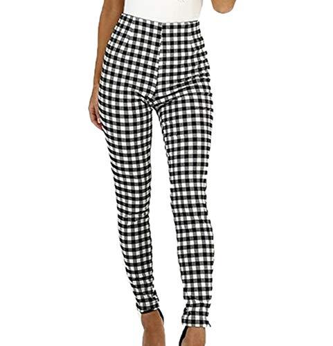 Leggings a Cuadros de Cintura Alta de Moda para Mujer Pantalones lápiz Pantalones Casuales Delgados