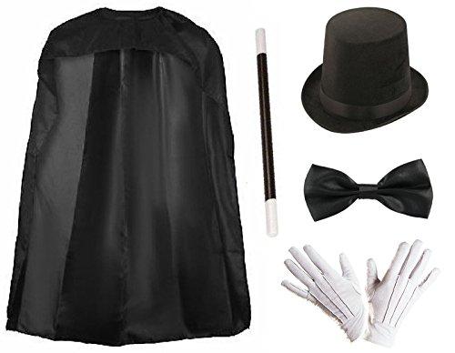 Lollipop-Kleidung, traditionelle Verkleidung, Zauberer-Umhang, Zylinder, Magier-Cape, viktorianischer Zauberstab, Handschuhe Gr. Einheitsgröße, 5pc set- 24