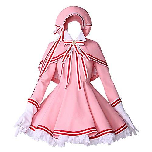 6PCS / Set Cosplay Kostüm Halloween Maskerade Card Captor CCS Kinomoto Sakura Dienstmädchen Lolita Gothic Kleid Niedliche Rock Anzüge mit Zubehör Optionale Perücke