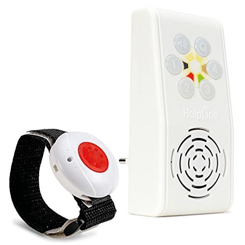 Helpline 230 Hausnotruf mit Notrufarmband für die häusliche Pflege; Funk Notrufsystem mit Notruf Armband; Notrufknopf für Senioren; Pflegeruf Set mit Quittierungsfunktion