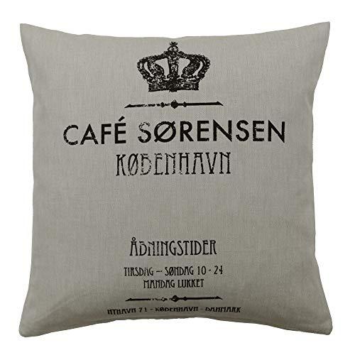 Scantex Kissenhülle KOPENHAGEN beige schwarz mit Krone Cafe Kissen