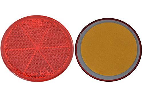 FKAnhängerteile 30 x Spot – Réflecteur arrière – Coller – Ø 60 mm – Rouge – E de marque de contrôle