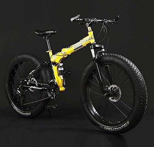 WYJW Bicicleta de montaña Plegable, Bicicletas MBT de Doble suspensión y neumáticos Anchos, Cuadro de Acero con Alto Contenido de Carbono, Freno de Disco Doble, Pedales y potencias de a