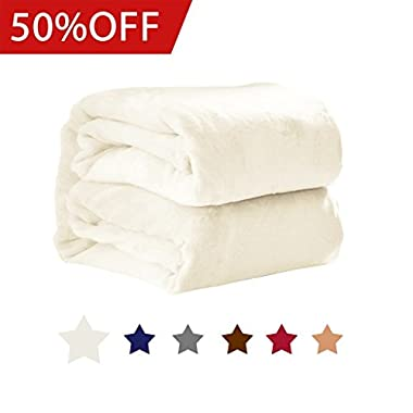 H.VERSAILTEX Blankets Queen Size 100% Premium Polar Fleece Blankets Extra Soft Brush Fabric for Bed/Couch / Car, Easy Care and No Shrinkage (Ivory, 90 - inch by 90 - inch)