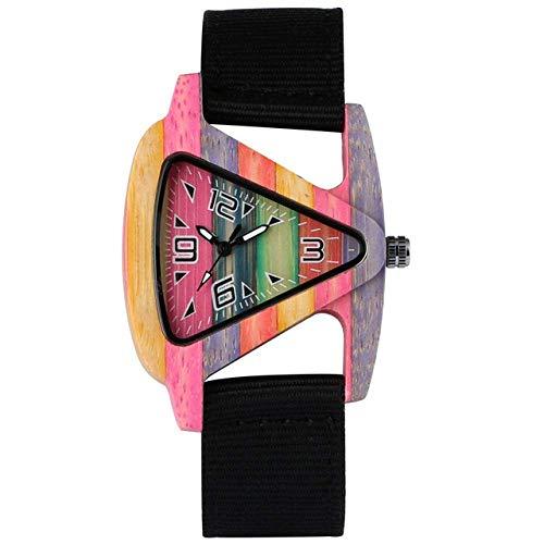 LYMUP Reloj de madera de bambú reloj de madera para esfera triangular femenina, correa de nailon duradero, relojes de cuarzo para hombres y mujeres, vapor (color: negro)