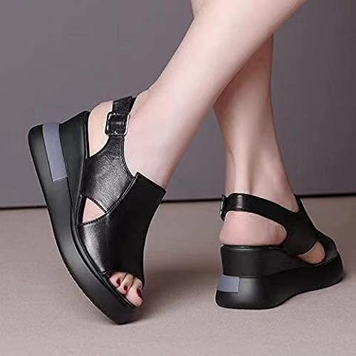 Sandalias ortopédicas,Verano Femenino con una Pendiente con Zapatillas, Sandalias de tacón Alto de Cuero de Fondo Grueso-2_35,Pantuflas Transpirables