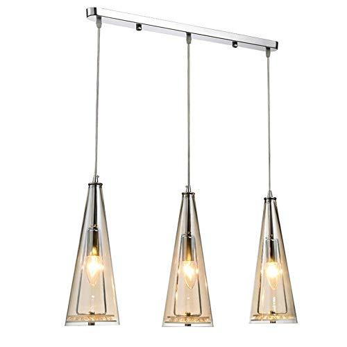 Lámpara colgante de ámbar moderna Lámpara de araña de cristal de vidrio redondo E14 Lámpara colgante de 3 luces para cocina Isla Comedor Mesa Bar Café Loft Balcón Iluminación de la sala de estar, B