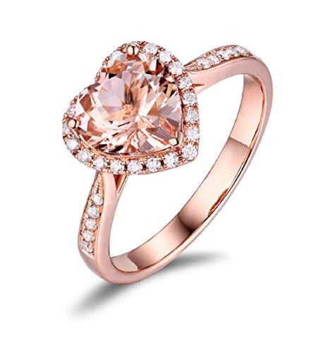 Gowe 14K Rose Gold 1,87ct natürlicher Morganit & 0,22ct Diamanten Verlobungsring Classic Ring