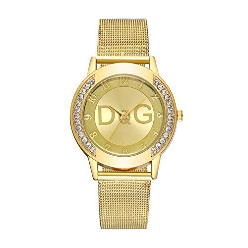 HRWVOR Relojes para Mujer, Mujeres Moda Reloj de Pulsera de Cuarzo con Banda de Acero Inoxidable y Diamante, Elegantes Relojes para Mujer Ladies Business Wristwatch Regalos (Color : Golden)