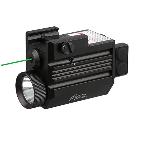 Pistol Green Laser Light Combo (Pistol Green Laser Sight and 500 Lumen Strobe Pistol Flashlight) (USB Rechargeable: Built-in Battery + USB Charger) for Compact Pistols like Glock 19 and Similar Sizes