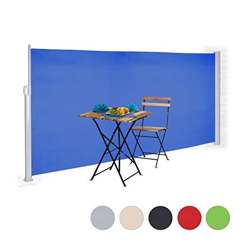 Relaxdays Seitenmarkise ausziehbar, Rollo für Balkon, Garten, Wand, UV-beständiger Sichtschutz HxB: 180 x 300 cm, blau