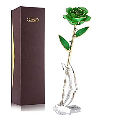 ZJchao 24K Green Rose for Her, Dipped Gold Rose Eternity Love Real Golden Plated Preserved Forever Flower with Rose Stand Present for Wife/Mom/Grandma (Green)