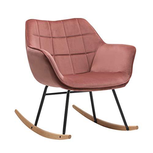 Duhome Mecedora diseño Retro Silla de Relax con Brazos Silla tapizada Vintage sillón de Relax con Patas de Metal y Madera, Color:Rosa, Material:Terciopelo