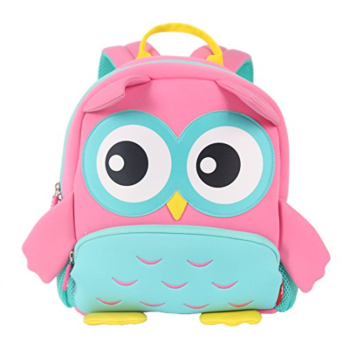 NOHOO Skin-friendly Waterproof Material Toddler Backpack ,Kindergarten Backpack with Chest Clip, Gift for Ages 2-7 (Pink Owl)
