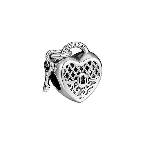 LIIHVYI Pandora Charms para Mujeres Cuentas Plata De Ley 925 Love You Lock con Colgante De Joyería con Llave De Corazón Compatible con Pulseras Europeos Collars