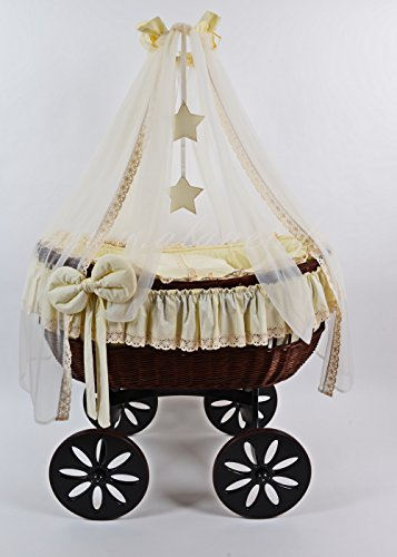 New Ophelia TRE Star Antique Cream Wicker Crib (Moses Basket) COT from ALANEL