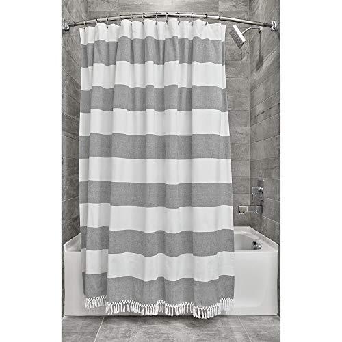 iDesign Ducha a Rayas, Preciosa Cortina de baño x 183,0 cm de algodón y poliéster, Blanco/Gris Oscuro