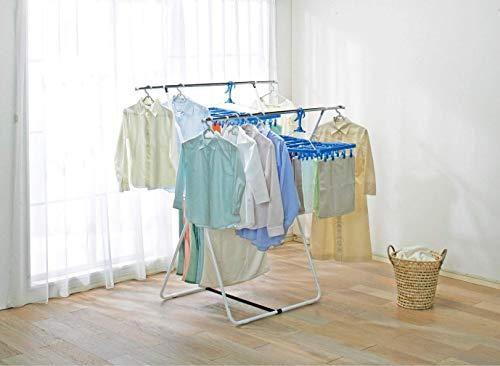 アイリスオーヤマ洗濯物干し室内物干しタオルハンガー付きコンパクト収納簡単組立約4人用幅99~142×奥行約81×高さ約155cmSLM-990XR