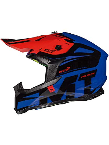 MT Casco Mx 2019 Falcon Weston Azul-Negro-Rojo (S, Azul)