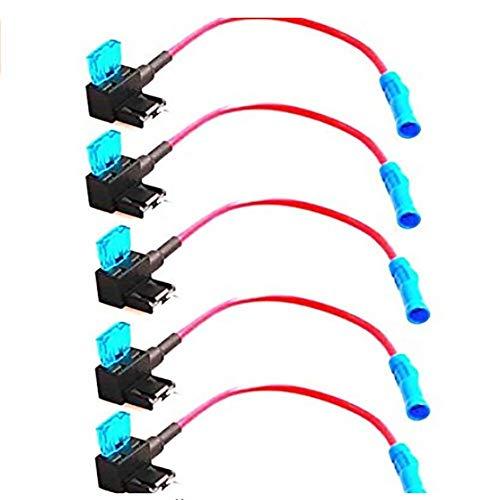 Duokon 5 stuks auto auto zekering kraan adapter, plastic metalen mes zekeringen houder circuit zekering kraan(Standard)