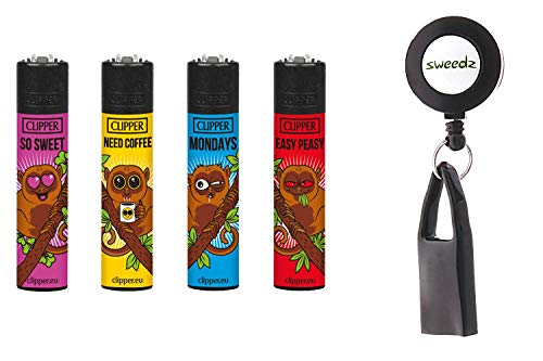 SweedZ Clipper Feuerzeug Koboldmakis 4er - Set mit Gratis Lighter Leash