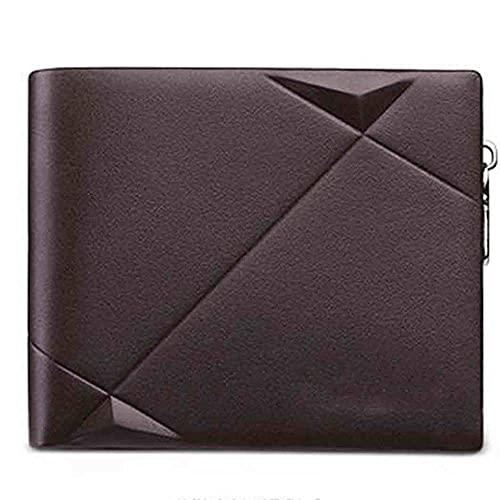 ZZZLL Cartera de Hombres Monedero Casual Design Bifold Wallet Marca Breve Slim Wallet-marrón