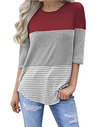 kigod Womens Casual Back Lace Half Sleeve Sky Blue T-Shirt Blouses Colorblock Striped Tops Tee Shirts (Wine Red, X-Large)