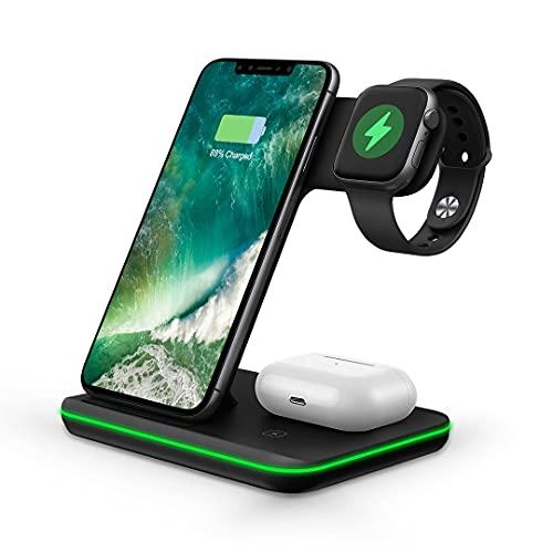 STK Cargador inalámbrico 3 en 1, 15 W para Apple iPhone, Samsung, Huawei, Xiaomi Smartphones, AirPods y TWS auriculares y Apple Watch S1-6, negro