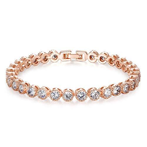 Kim Johanson Damen Tennis Armband *Ava* in Roségold mit weißen Kristallen besetzt rhodiniert inkl. Schmuckbeutel