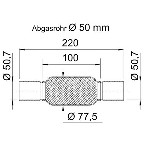 ERNST 460 08 8 FLEXROHR, ABGASANLAGE (ROHRLEITUNG FLEXIBEL 50, 7X220 MM) ERNST ANSCHLUSSROHR BEIDSEITIG
