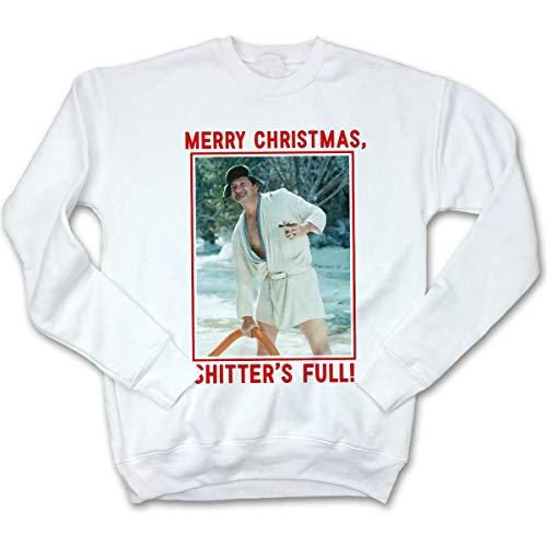 Fluffy Crate Merry Christmas, Shitter's Full! Ugly Christmas Sweatshirt | Cousin Eddie Sweater White