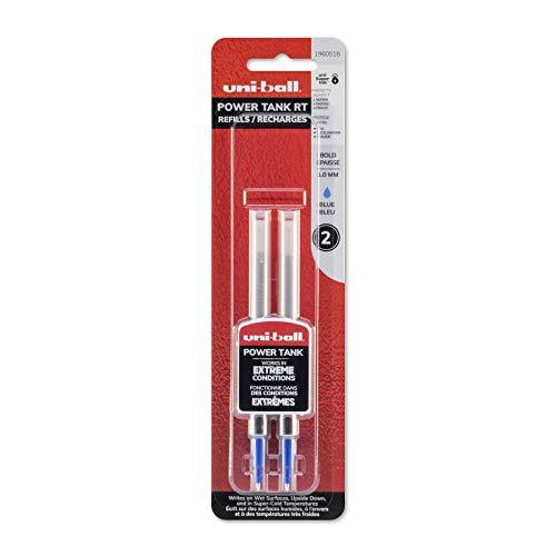 Uni-Ball Power Tank RT Ballpoint Pen Refills, Blue, 2 Count