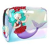 Bolsa de maquillaje portátil con cremallera bolsa de aseo de viaje para las mujeres práctico almacenamiento cosmético bolsa feliz Rockabilly brillante