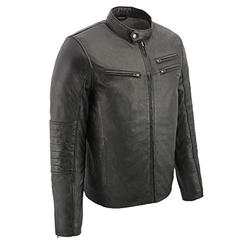 Milwaukee Leather SFM1806 Men's Black Euro Collar Café Leather Jacket - Medium