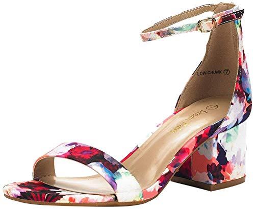 DREAM PAIRS Low-Chunk Sandalias de Tacón Bajo Pump para Mujer Floral 42 EU/11 US