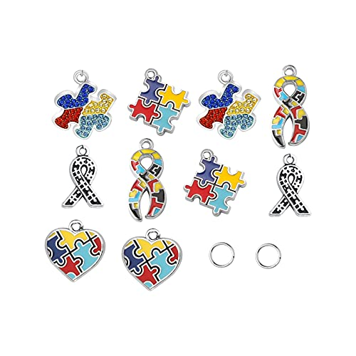 AKTAP Autism Awareness Jigsaw Jewelry Autism Charms Pendants for Autism DIY Jewellery Crafts Decorations (Autism DIY Jewellery)
