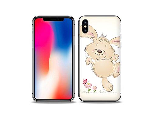 etuo Hülle für Apple iPhone X - Hülle Fantastic Hülle - Glückliches Kaninchen Handyhülle Schutzhülle Etui Hülle Cover Tasche für Handy