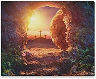 JTMOVING Wall Art Painting Crucifixion Sunrise Empty Tomb Shroud Resurrection Prints On Canvas The Picture Landscape Pictures Oil for Home Modern Decoration Print Decor for Living Room