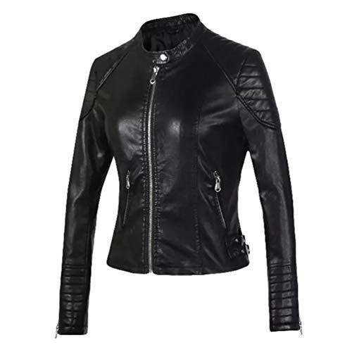 HX fashion Chaqueta Motera Vintage para Abrigo Mujer Casual Abrigo Corto Tamaños Cómodos Chaqueta De Cuero Sintético Abrigo Moda 2020 Ropa De Mujer