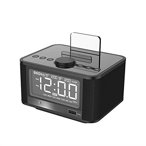 LZJZ Altavoz Bluetooth Radio Despertador LED Super Bass Dormitorio de Escritorio Dormitorio en casa Reloj Despertador Doble,Black