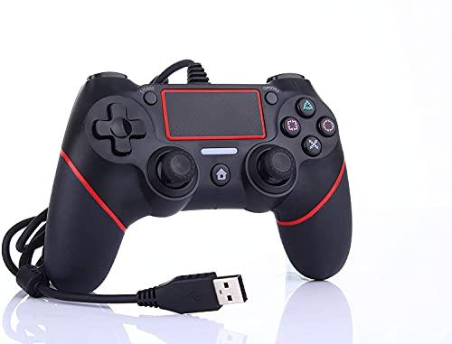 Wired Game Controller für Ps 4 / Pro / Slim / PC / Laptop, USB-Stecker Gamepad Joystick mit Dual Vibration und Anti-Rutsch-Griff, Ergonomie, 2M Kabel, Rot
