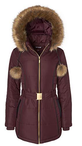 Women's Down Alternative Long Belted Puffer Coat with Fur Trim Detachable Hood - Merlot (Largre)