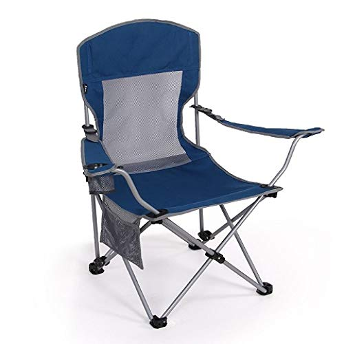 ZFLL Picknick klaptafel en stoelen Hoge rug Laadlager 120 kg Zittend outdoor klapstoel Twee-speed verstelbare Zittend en liggend 2use visstoel Blauw