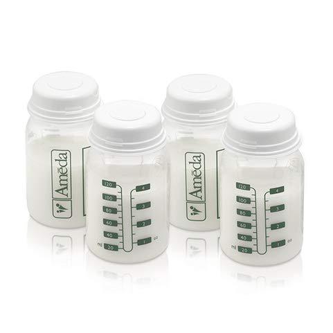 Ameda Breast Milk Storage Bottles Includes: (4) 4oz. Bottles with (4) 2-Piece Lock-Tight Caps, for Breast Milk Storage…