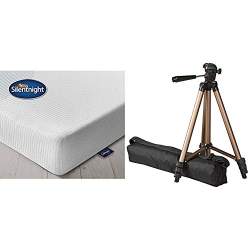 Silentnight 3 Zone Memory Foam Rolled Mattress, Made in the UK, Medium, UK King & AmazonBasics 127cm (50') Lightweight Tripod with Bag